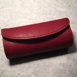 Coach red leather lipstick case